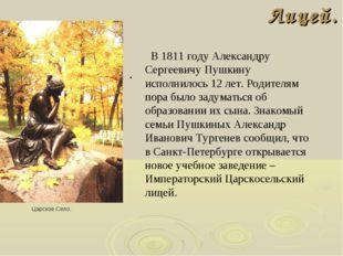 Лицей. . Царское Село. В 1811 году Александру Сергеевичу Пушкину исполнилось