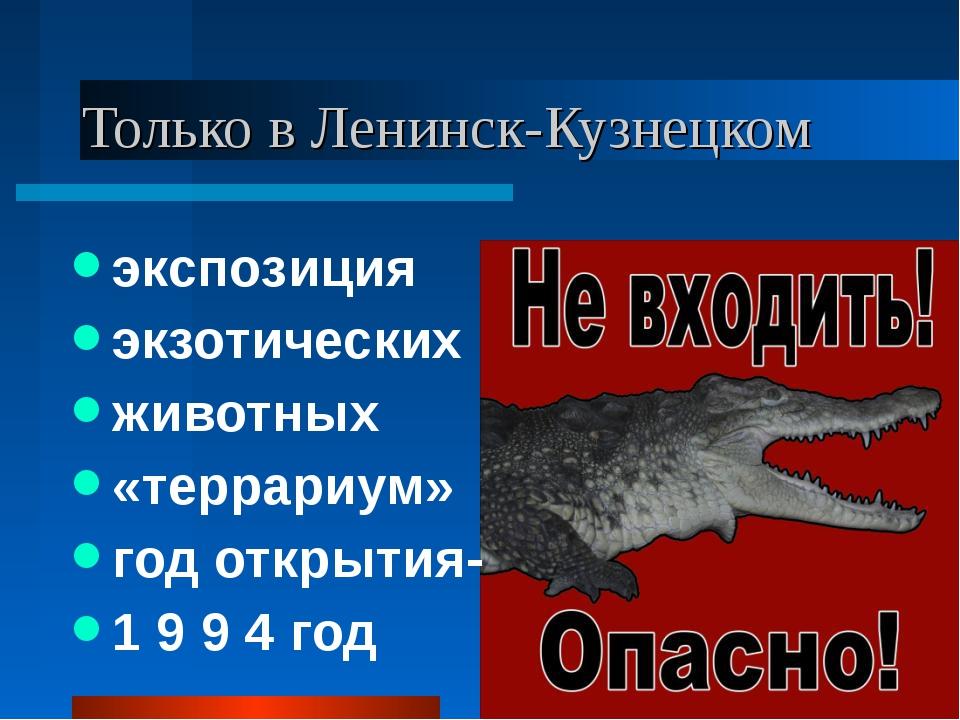 Только в Ленинск-Кузнецком экспозиция экзотических животных «террариум» год о...