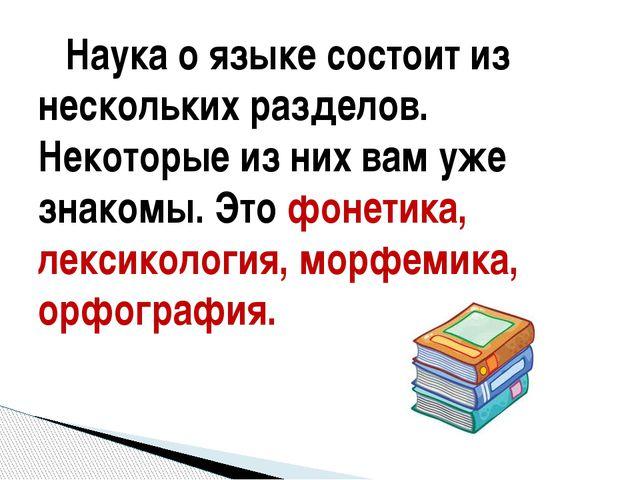 Наука о языке состоит из нескольких разделов. Некоторые из них вам уже знако...