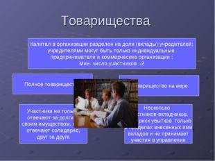 Товарищества Полное товарищество Товарищество на вере Капитал в организации р