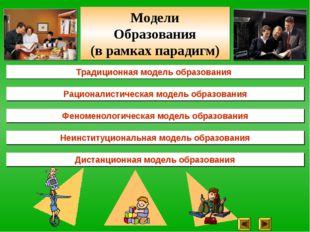 Традиционная модель образования Рационалистическая модель образования Феномен