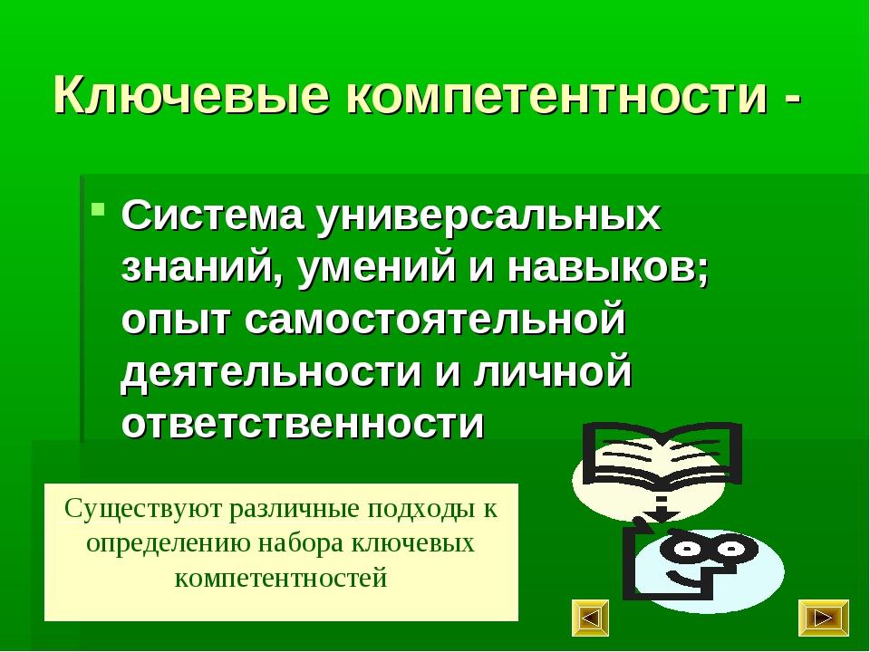 Ключевые компетентности - Система универсальных знаний, умений и навыков; опы...