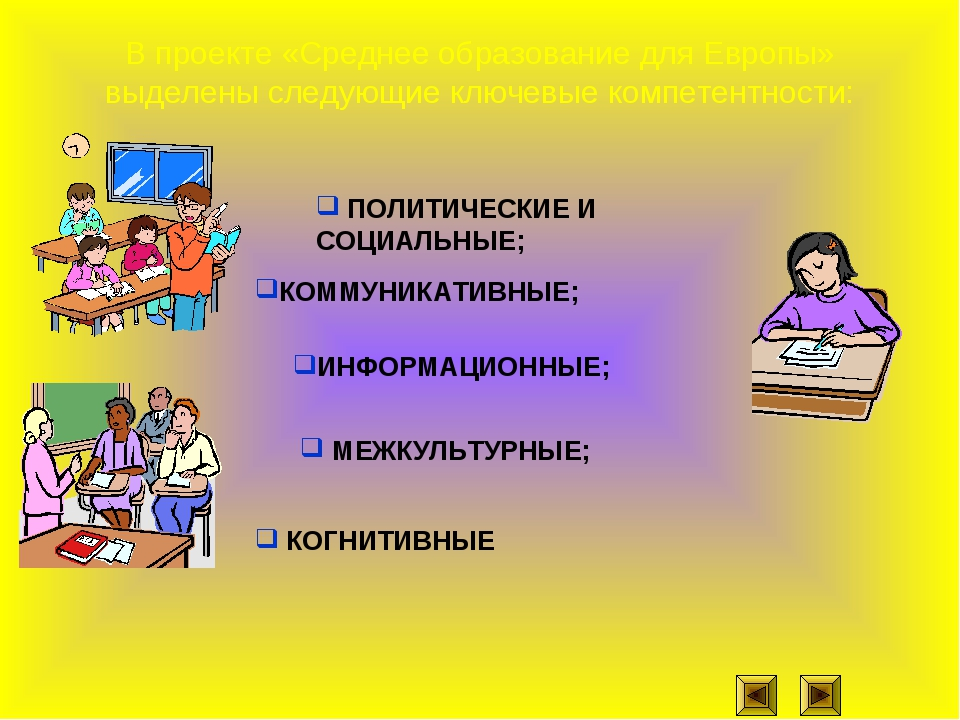 В проекте «Среднее образование для Европы» выделены следующие ключевые компет...