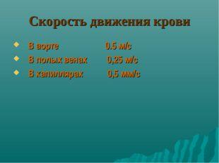 Скорость движения крови В аорте 0.5 м/с В полых венах 0,25 м/с В капиллярах 0