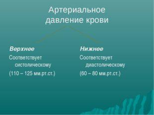 Артериальное давление крови Верхнее Соответствует систолическому (110 – 125 м