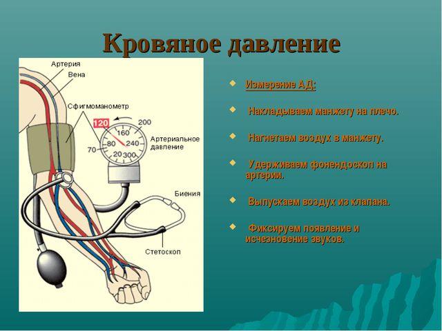 Кровяное давление Измерение АД: Накладываем манжету на плечо. Нагнетаем возду...
