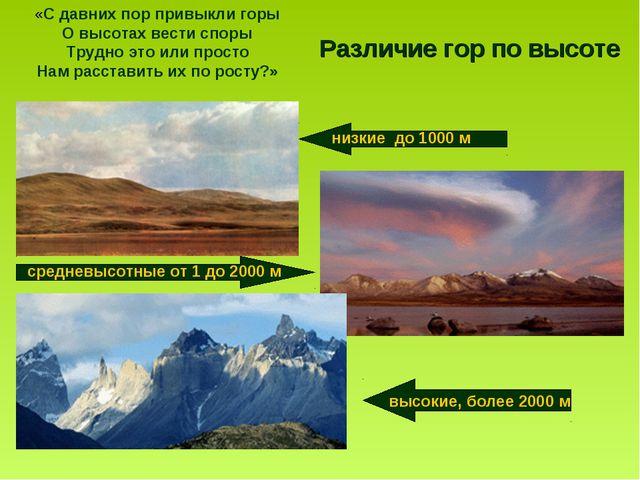 Различие гор по высоте «С давних пор привыкли горы О высотах вести споры Труд...