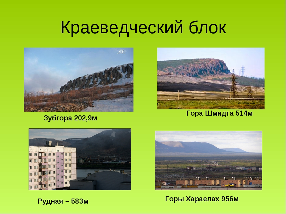 Краеведческий блок Зубгора 202,9м Горы Хараелах 956м Гора Шмидта 514м Рудная...