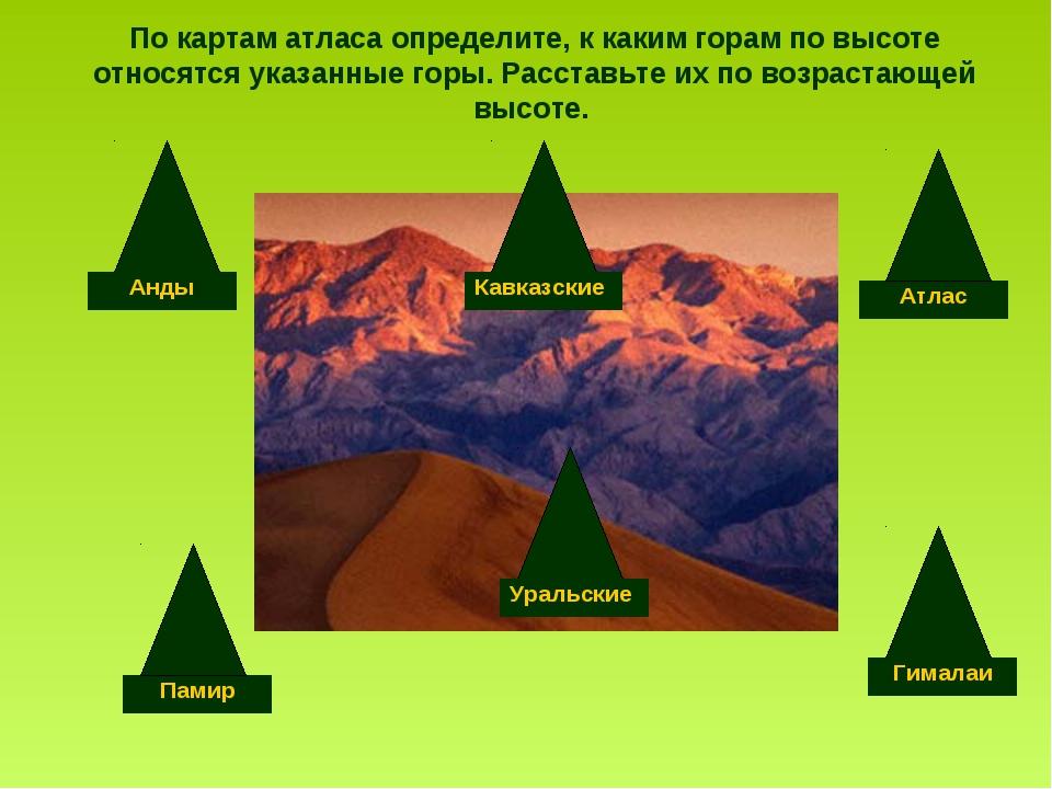 По картам атласа определите, к каким горам по высоте относятся указанные горы...