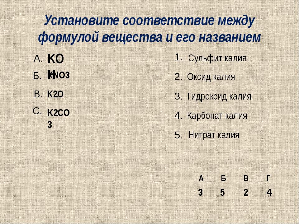 Установите соответствие между формулой вещества и его названием KOH KNO3 K2O...