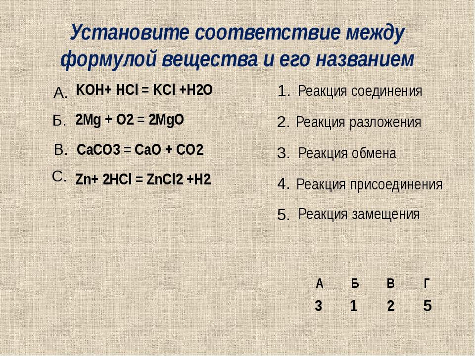 Установите соответствие между формулой вещества и его названием KOH+ HCl = KC...