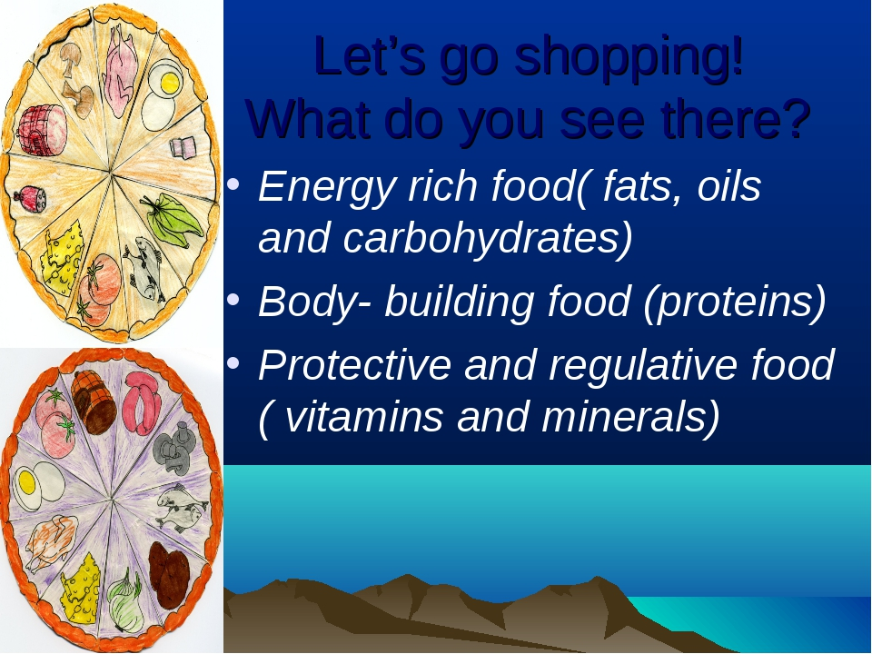 Let's go shopping! What do you see there? Energy rich food( fats, oils and ca...