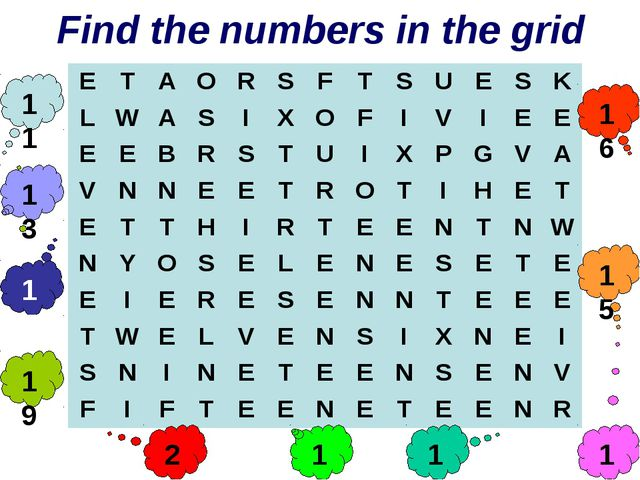 Find the numbers in the grid 11 14 19 16 15 20 17 12 18 13