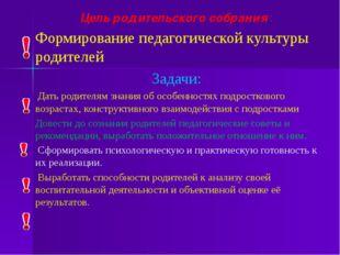 Цель родительского собрания : Формирование педагогической культуры родителей