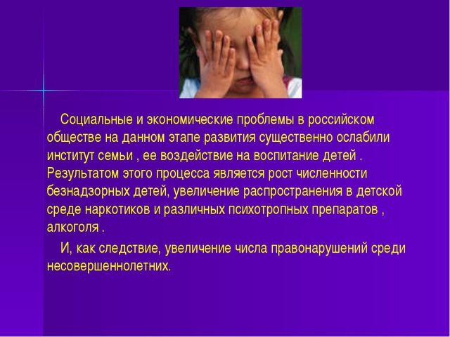 Социальные и экономические проблемы в российском обществе на данном этапе ра...