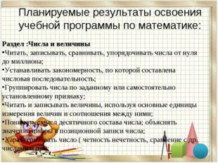 Планируемые результаты освоения учебной программы по математике: Раздел :Числ
