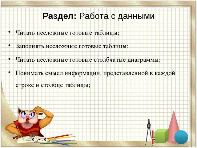 Раздел: Работа с данными Читать несложные готовые таблицы; Заполнять несложны...