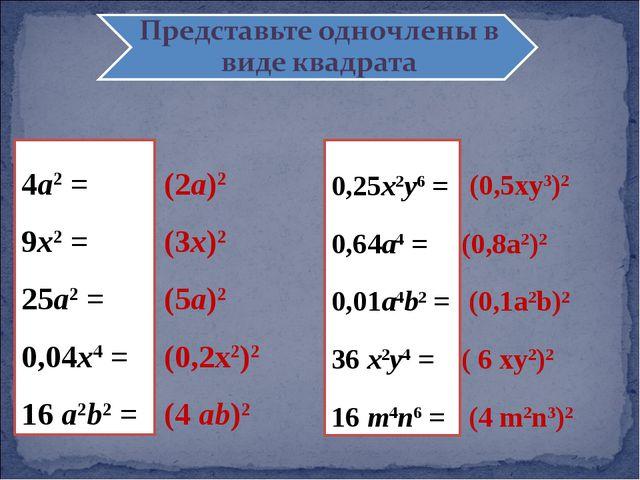 Представить в виде квадрата одночлена 4а2 = 9x2 = 25a2 = 0,04x4 = 16 a2b2 = 0...