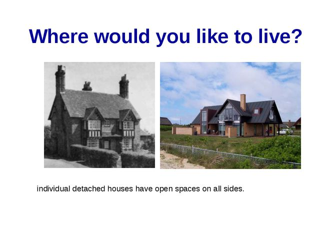 Where would you like to live? individual detached houses have open spaces on...