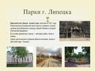 Парки г. Липецка Верхний (или Дворя́нский) парк заложен в 1911 году. Располаг