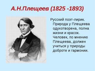 А.Н.Плещеев (1825 -1893) Русский поэт-лирик. Природа у Плещеева одухотворена,