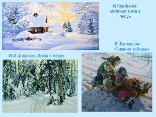 И.Крайнова «Мягкая зима в лесу» Е. Балакшин «Зимние забавы» И.И.Шишкин «Зима