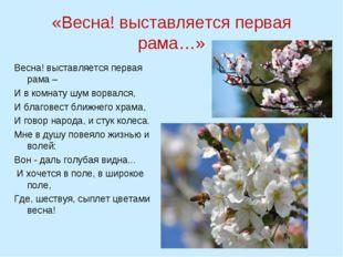 «Весна! выставляется первая рама…» Весна! выставляется первая рама – И в комн