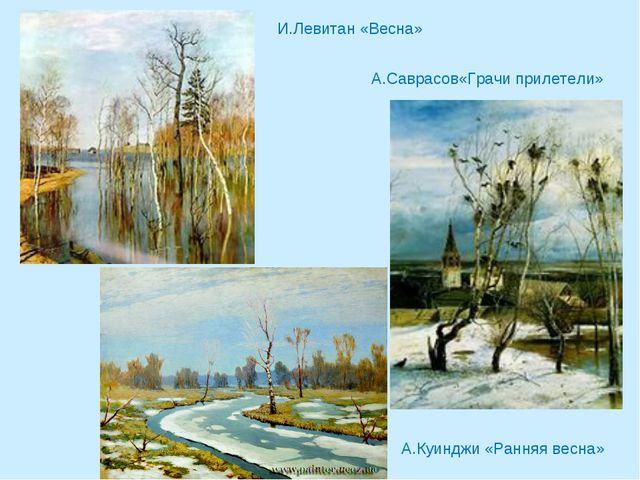 И.Левитан «Весна» А.Саврасов«Грачи прилетели» А.Куинджи «Ранняя весна»