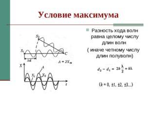 Условие максимума Разность хода волн равна целому числу длин волн ( иначе чет