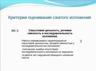 Критерии оценивания сжатого изложения ИК 3Смысловая цельность, речевая связн