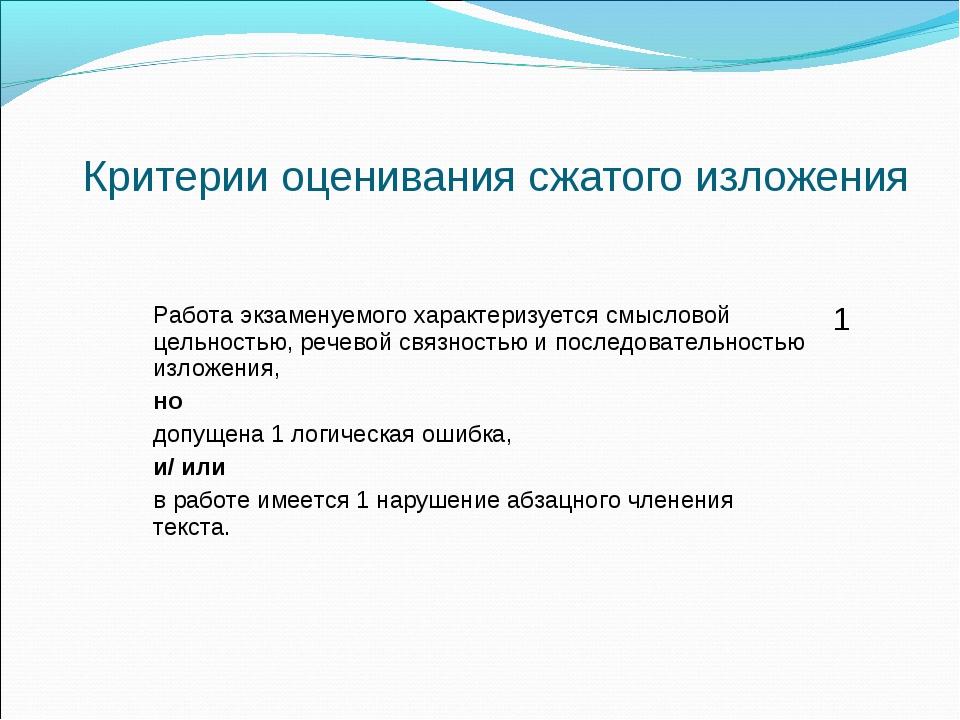 Критерии оценивания сжатого изложения Работа экзаменуемого характеризуется с...