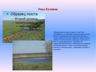 Река Кумшак Правый приток Дона. Длина 121 км. Река маловодна и в засушливые г