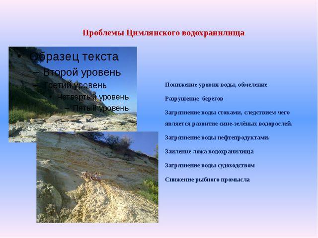 Проблемы Цимлянского водохранилища Понижение уровня воды, обмеление Разрушен...