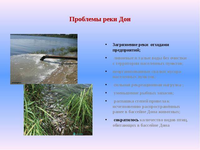 Проблемы реки Дон Загрязнение реки отходами предприятий; ливневые и талые вод...
