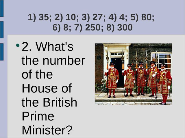 1) 35; 2) 10; 3) 27; 4) 4; 5) 80; 6) 8; 7) 250; 8) 300 2. What's the number o...