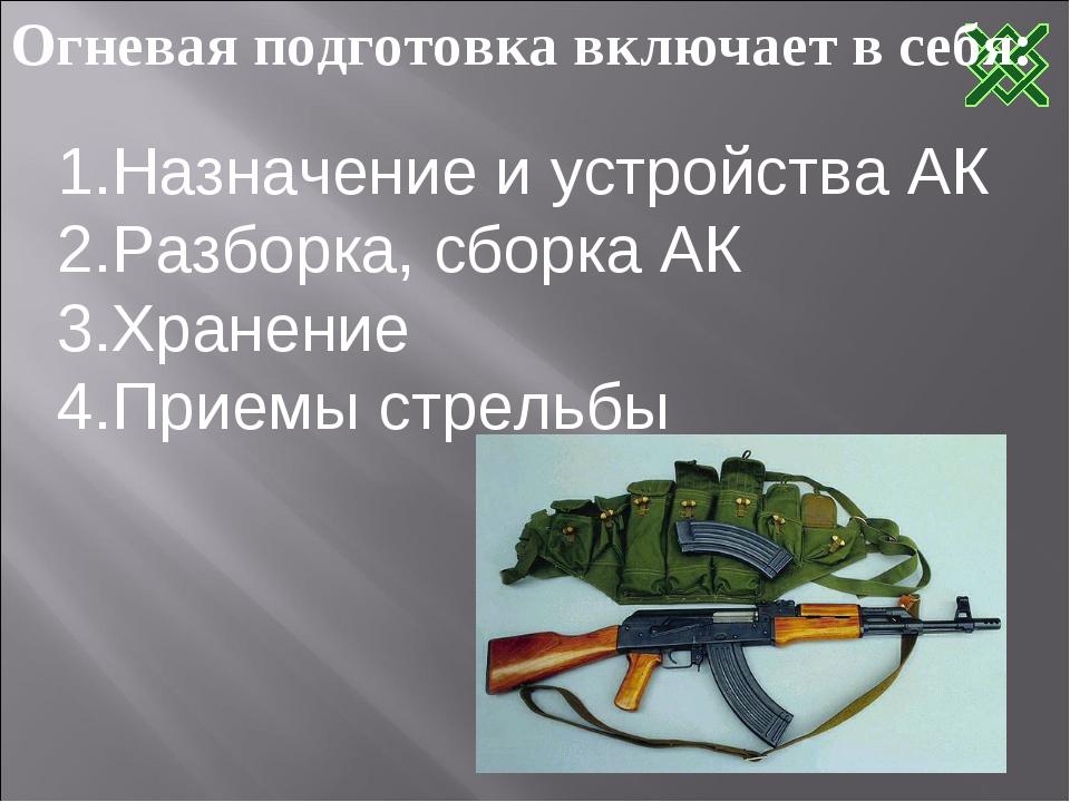 Огневая подготовка включает в себя: Назначение и устройства АК Разборка, сбор...