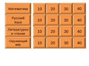 Математика Русский язык Литературное чтение Окружающий мир 10 20 30 40 10 20