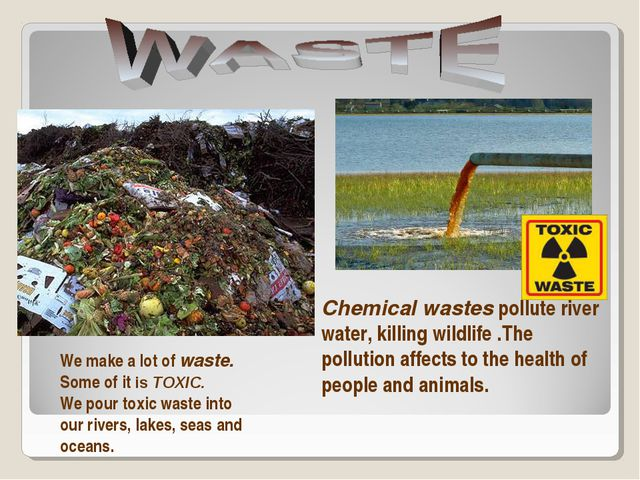 Chemical wastes pollute river water, killing wildlife .The pollution affects...