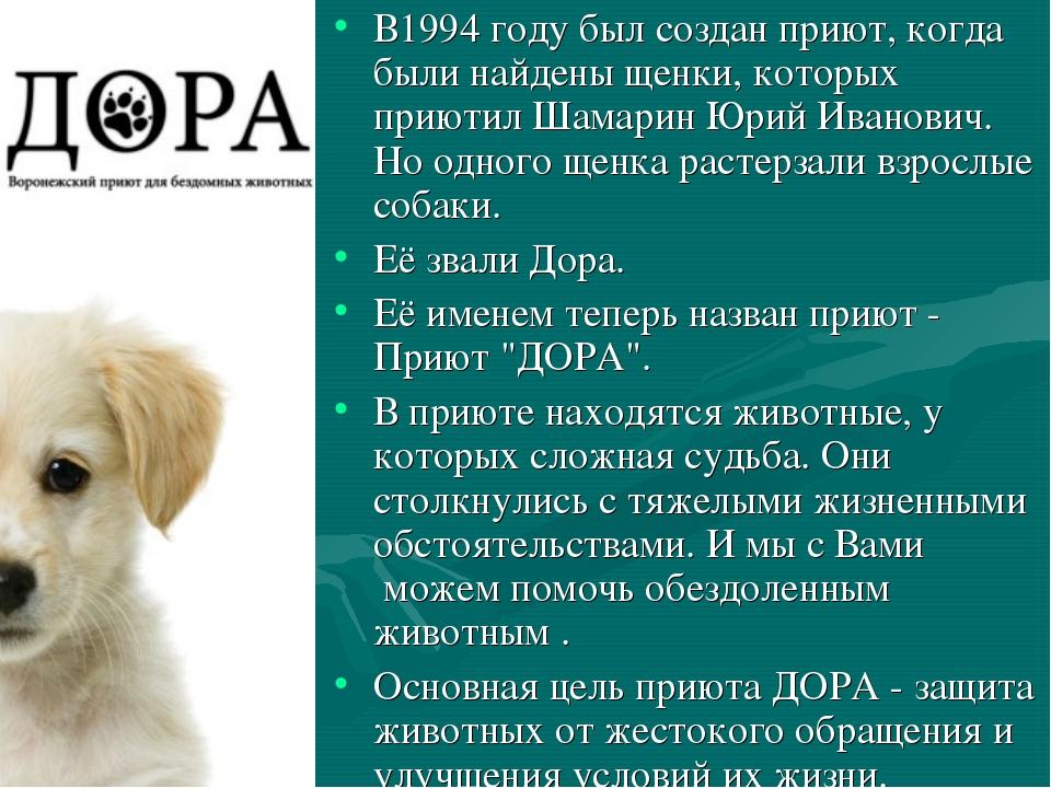 В1994 году был создан приют, когда были найдены щенки, которых приютил Шамари...