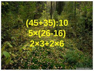 (45+35):10 5×(26-16) 2×3+2×6