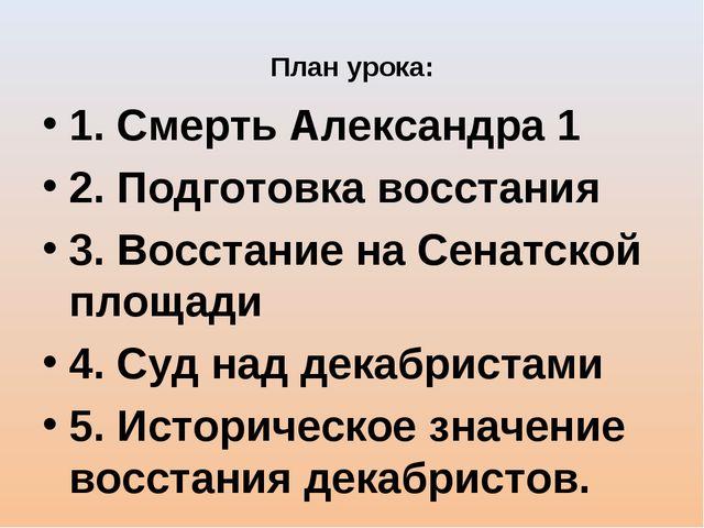 План урока: 1. Смерть Александра 1 2. Подготовка восстания 3. Восстание на Се...