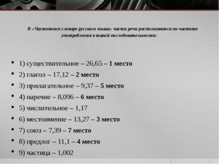 В «Частотном словаре русского языка» части речи располагаются по частоте упот
