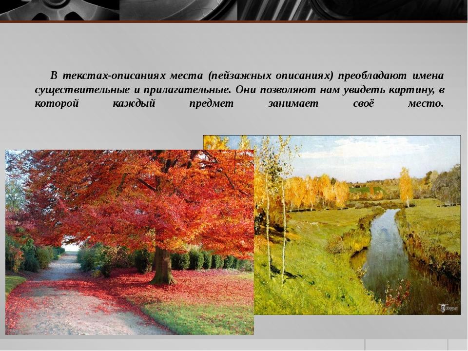 В текстах-описаниях места (пейзажных описаниях) преобладают имена существите...