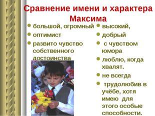 Сравнение имени и характера Максима большой, огромный оптимист развито чувств