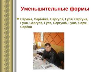 Уменьшительные формы Серёжа, Сергейка, Сергуля, Гуля, Сергуня, Гуня, Сергуся,