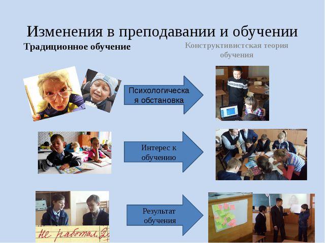 Изменения в преподавании и обучении Традиционное обучение Конструктивистская...