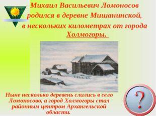 Михаил Васильевич Ломоносов родился вдеревне Мишанинской, внескольких килом