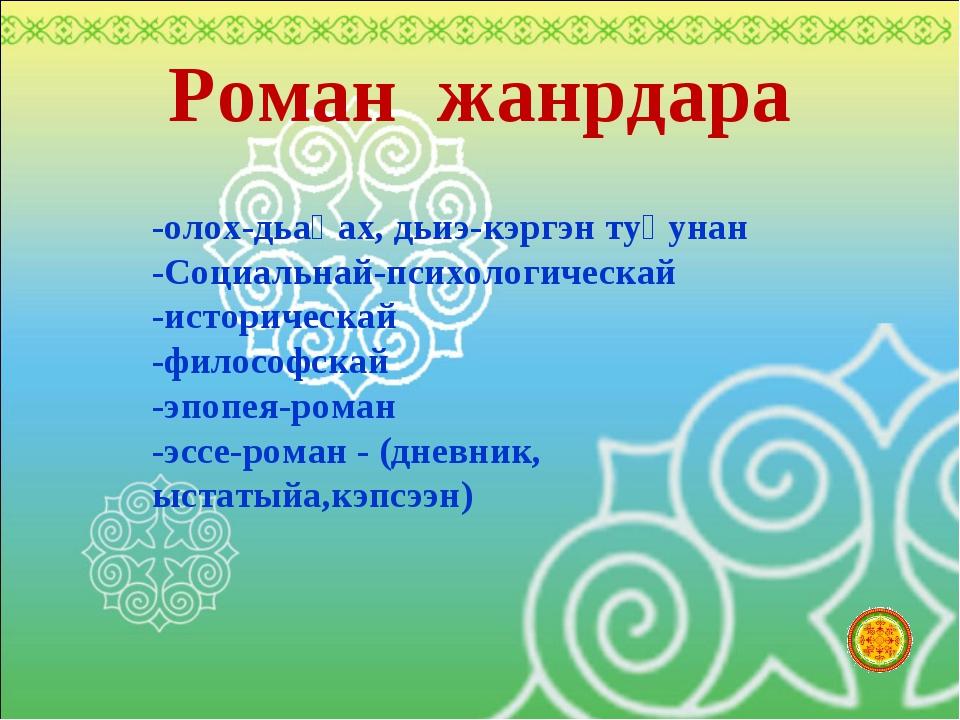 Роман жанрдара -олох-дьаһах, дьиэ-кэргэн туһунан -Социальнай-психологическай...