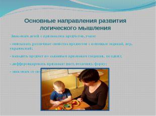 Основные направления развития логического мышления Знакомим детей с признакам