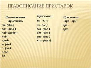 Приставки на -з, -с Неизменяемые приставки Приставки пре- при- из- (ис-) воз-